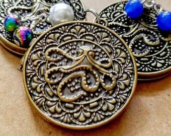 Octopus Sea Creature Coin Locket Brass Medallion Pendant