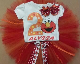 Take 20% OFF, Elmo Birthday Outfit, Elmo Shirt, Elmo Tutu Set, Elmo Birthday Tutu Set (FREE BOW)