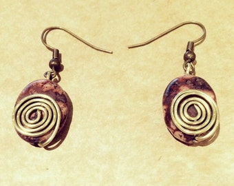 Wire and Stone Bead Trendy Earring