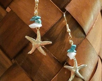 turquoise and starfish earrings