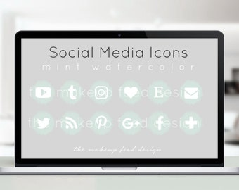 Mint Watercolor Social Media Icons (75px x 75px)