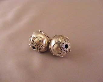 Sterling Silver Handmade Round Bali Bead with Hearts and Discs