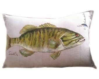 "SMALLMOUTH BASS FISH Throw Pillow Cover, Decorative Fish Pillow Sham 12"" x 20"""