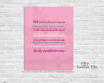 God Made Little Girls - Pink/Teal - Digital file for download