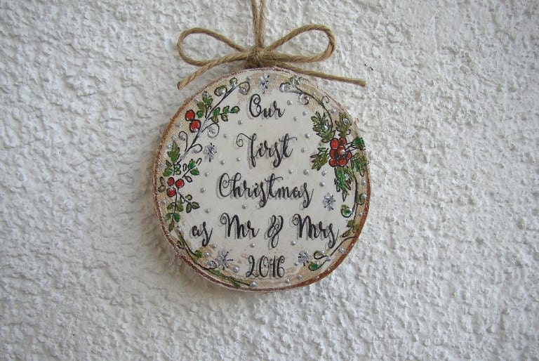 Christmas Ornament Wedding Gift: Our First Christmas Ornament Newlywed Ornament Wedding Gift
