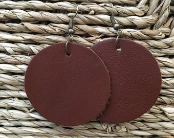 Brown Leather Circle Earrings