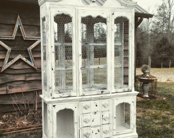 SOLD! China cabinet, shabby chic, farmhouse, rustic