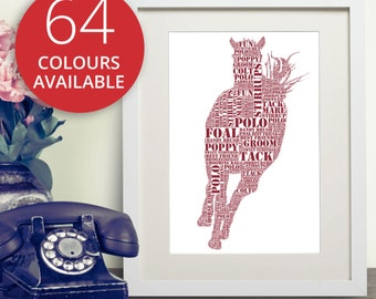 Horse Word Art Print | Personalised Horse Print | Horse Portrait | In Memory Of Print | Horse Owner | Typography | Horse Lover | Pony