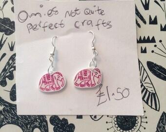 Pink Indian elephant dangle earrings