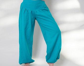 Pants S M L XXL turquoise cotton, harem