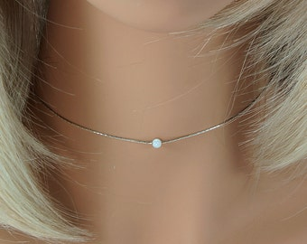 Sterling Silver Choker, Silver and Opal Choker, Opal Choker,Opal Choker Necklace,Silver Choker,Minimal Silver Necklace, Opal