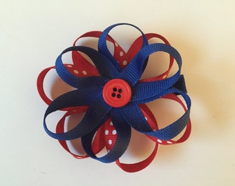 Red White and Blue Flower Hair Bow