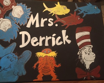 Dr. Suess Canvas Name Door Hanger