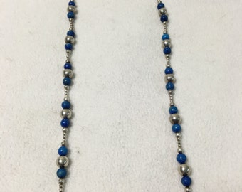 Sterling Silver and Blue Dyed Beaded Necklace