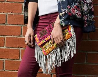 Handmade vintage embellished embroidered clutch tassel multicolored festival bohemian bag