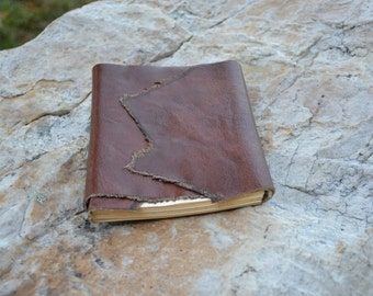 Brown Hand Stitched Leather Wrap-Around Journal/Sketchbook