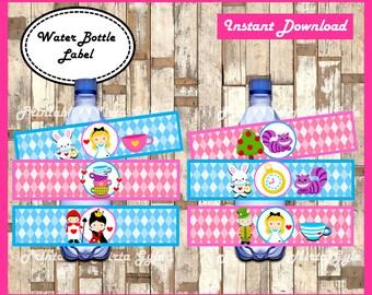 Alice in Wonderland Water Bottle Label, printable Alice in Wonderland party Water Bottle Label, Alice in Wonderland water