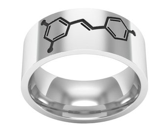 Red Wine Molecule Ring, Silver Band Ring, Red Wine Molecule Jewelry, Molcule Ring, Science Ring, Biology Ring, Wedding Band Ring