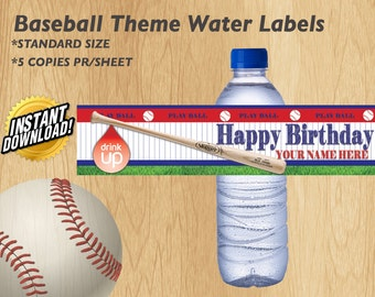 Sports Theme Water Bottle Label (Instant Download)
