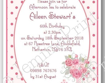 Printed Personalised Afternoon Tea Birthday Party Invitations 30th 40th  50th  60th  70th  80th 90th  100th female funny x10 with envelopes