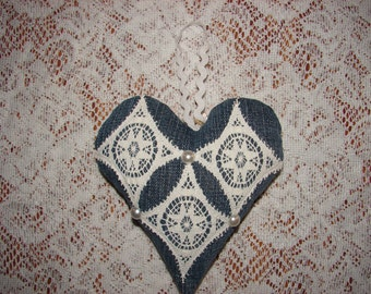 Upcycled Stuffed Denim Heart with Lace and Pearl Embellishment