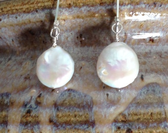 Coin Pearl Earrings/leverback earwires/13-14mm/Sterling silver,pearl earrings/Freshwater pearls