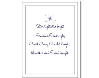 Star Light Star Bright, Printable Art, Instant Download, Wall Art, Home Decor, Printable Art
