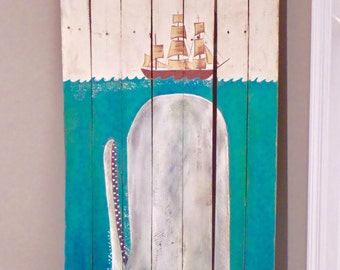 Moby Dick Pallet Sign, Whale Sign, Moby Dick Painting, Nautical Decor, Nautical Pallet Sign, Beach House Decor, Handpainted Whale Sign