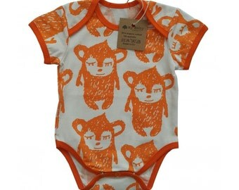 Orange Organic Cotton Little Hippu Bodysuit