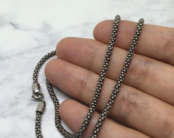 "16"", 3mm, vintage Sterling silver handmade necklace, solid 925 silver popcorn chain, silver tested, missing a link near the clasp"