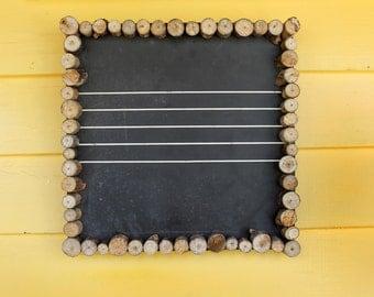 Rustic Wood Framed Wall Hanging Chalkboard - Vintage Blackboard - Wall Decor - Message Board - 13.5x13