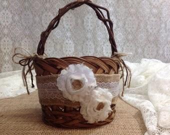 Rustic Flower Girl Basket Shabby Chic Wedding Basket Rustic Wedding Decor Rustic Gift Burlap Lace
