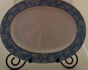 Pfaltzgraff Blue Isle Oval Serving Platter/Blue Isle/Pfaltzgraff/Oval Platter/Green Leaves on Blue Band/China Serving Platter