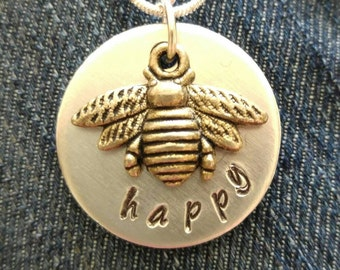 Bee Happy Hand Stamped Necklace