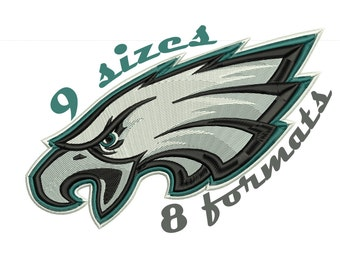 9 Sizes PHILADELPHIA EAGLES Inspired Machine Embroidery Designs in 8 formats and 9 sizes