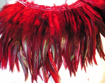 Red rooster feathers, saddle, hackle feathers, long, bulk, lot, wholesale, feather supply,