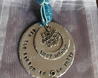 Hand Stamped Happy Holidays Ornament