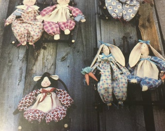 """Clothespin Cousins 11""""  critters, bunny, kitten and sheep pattern"""