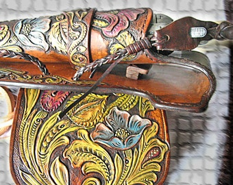 Tooled leather ranger gun belt, holster 1873, Cap Box Pouch Old_W