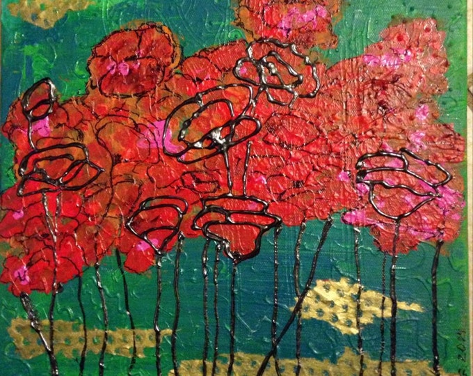 """Original mixed media painting """"Poppies"""" by Anya Getter"""