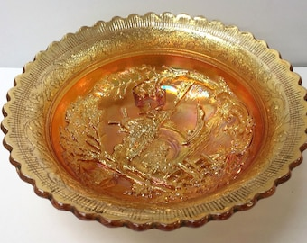 Imperial Double Dutch Windmill Marigold Carnival Glass Footed Bowl - Art Deco