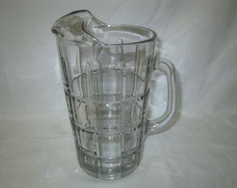 Vintage Anchor Hocking Water Iced Tea Lemonade Patterned glass pitcher