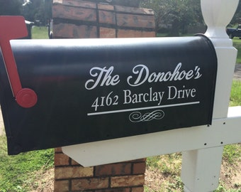 Mailbox Vinyl Decal- Personalized - Name and Address -Set of TWO- Mailbox Lettering - Vinyl Lettering