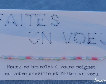 """Bracelet """"Make a wish"""" - 3 colors to choose from-100% cotton"""