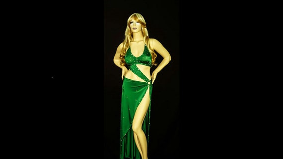 Exotic Dancewear Stripper Gown Sparkly Emerald Green with matching Thong.