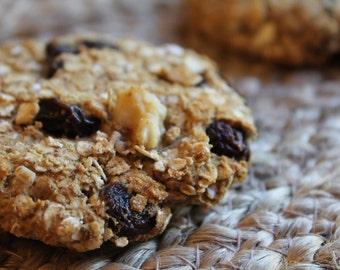 Two Dozen Oatmeal Raisin Protein Cookies- Vegan, Vegetarian, Gluten Free, Sugar Free, Paleo, Clean Eating