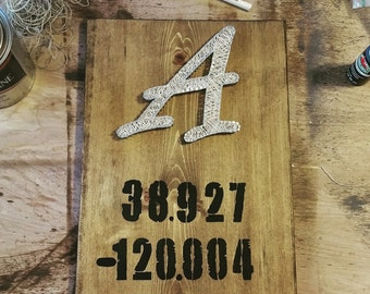 Rustic Geo-location Home Decor Sign