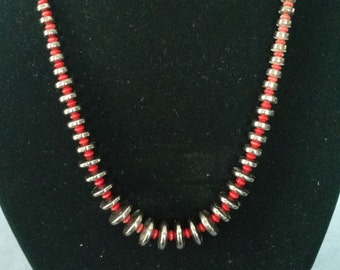 Coral and Hematite Beaded Necklace