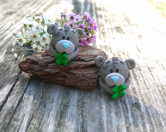 Lucky earrings Bear earrings Gray teddy Funny animals Clover leaf Cute earrings Gray earrings Good luck Teddy bear Lucky gift Birthday gift