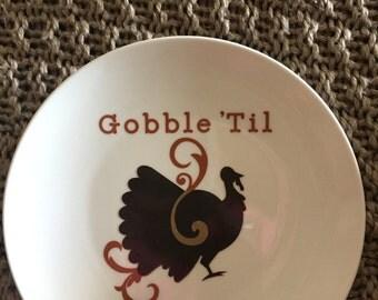 Thanksgiving Gobble Til You Wobble Decorative Stoneware Plate